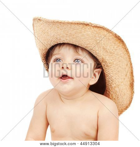 Closeup portrait of sweet little boy wearing stetson isolated on white background, fun and happiness concept