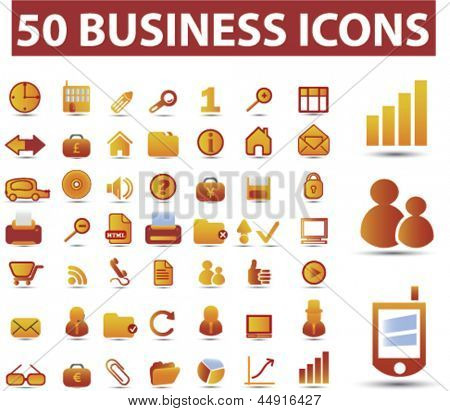 50 business, marketing, management, presentation, finance, human resources, office icons, signs, vector set