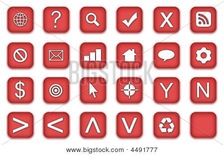 Web Icons Set in Aqua Red Symbols poster