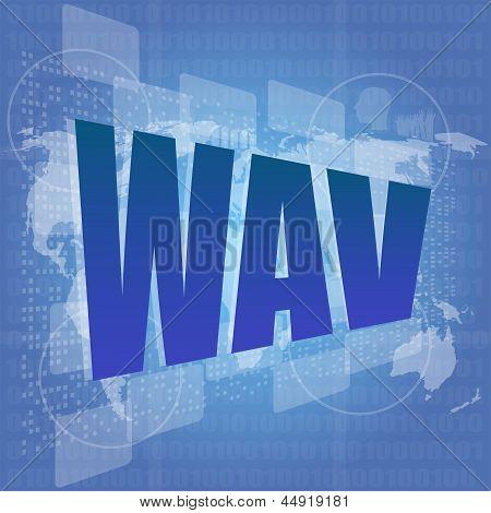 Palabra de WAV en la pantalla táctil Digital - concepto del negocio