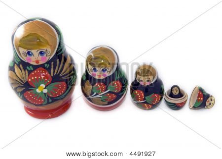 Russian Matryoshka Dolls Lined Up