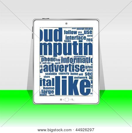 Black Tablet Pc With Social Words On Screen, art illustration