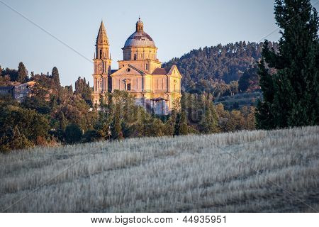 San Biagio Church At Sunset Outside Montepulciano, Tuscany, Italy
