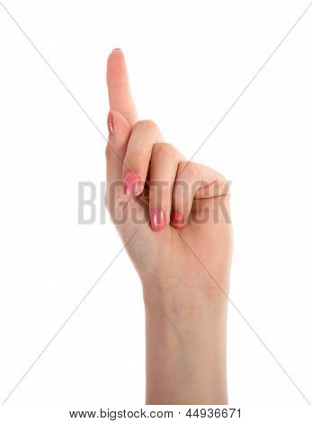 Female Hand Showing One Finger Isolated On White Background