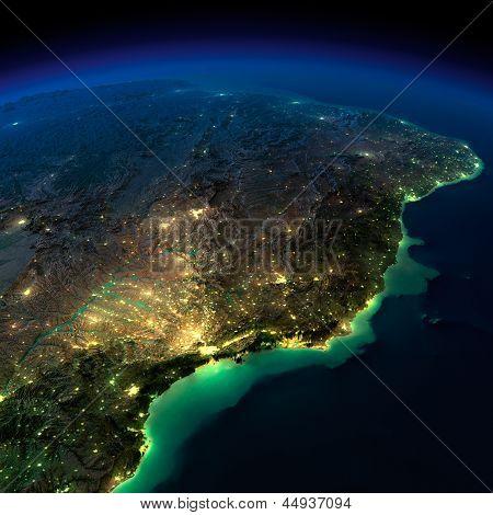 Night Earth. A Piece Of South America - Brazil