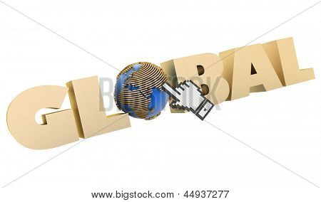 3d illustration of word with a globe and  mouse cursor on a white background