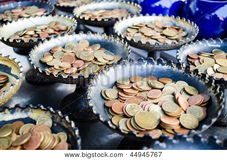 Group Of Coin Tray Use For Philanthropy