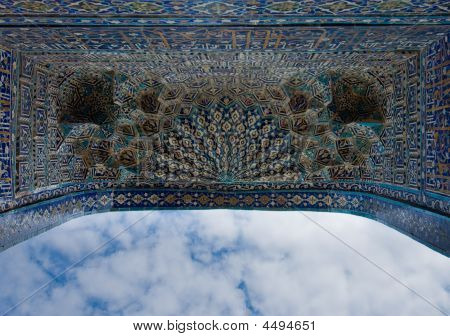 Iwan of the mosque oriental ornaments from Samarkand Uzbekistan poster