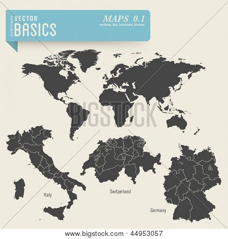 vector basics: maps 1 - worldmap and detailed ones of Italy, Switzerland and Germany, including their administrative divisions and capital cities
