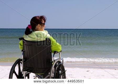 Woman Disability Beach