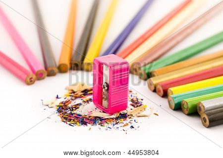 Pink Sharpener Arounded With Pencil