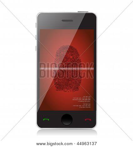 Mobile Phone Scanning A Finger Print Illustration