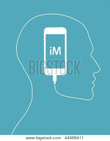 Smartphone forming human face profile with its cable. Creative concept for your design idea, Eps10, vector illustration. Be free!