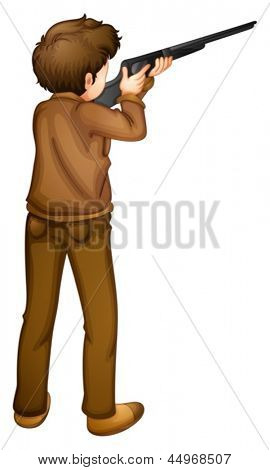 Illustration of a back view of a hunter on a white background