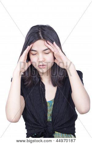 Young Biracial Teen Girl Massaging Temple, Stressed,  Headache