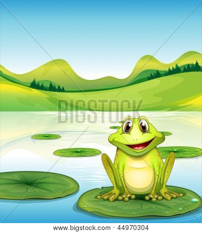 Illustration of a frog above the waterlily in the pond