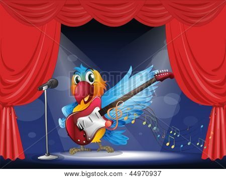Illustration of a parrot with a guitar at the stage