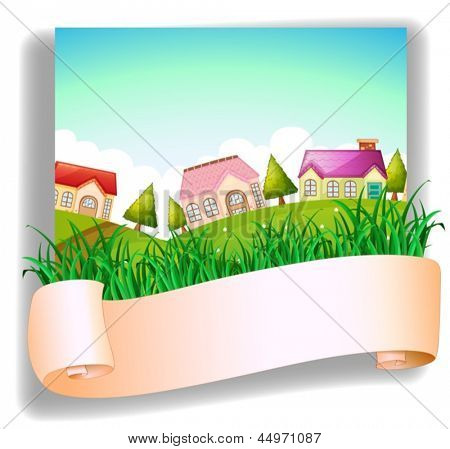 Illustration of a village with a signage on a white background