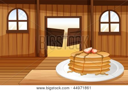 Illustration of the pancakes in a plate