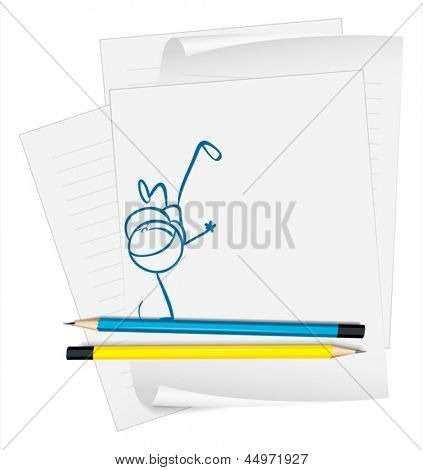 Illustration of a paper with a sketch of a little boy doing a handstand