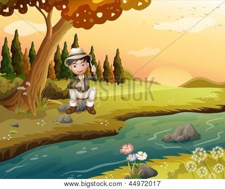 Illustration of a boy sitting near the riverbank