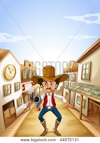 Illustration of a gunman at the village