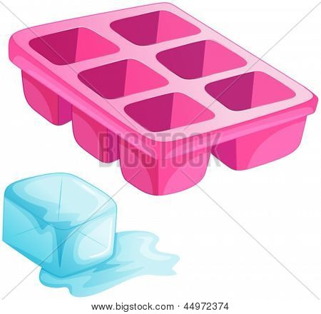 Illustration of a pink ice tray on a white background