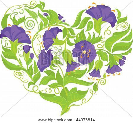 Convolvulus Flowers Heart Isolated On White Background - Design For Wedding Invitation Or Valentines