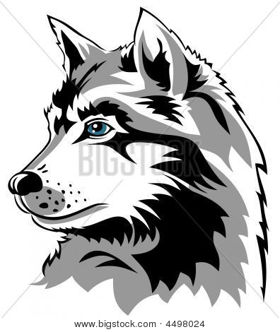 Abstract vector illustration of wolf head profile poster