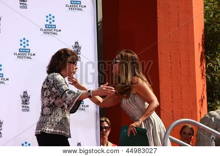 LOS ANGELES - APR 27:  Lily Tomlin, Maria Shriver at the ceremony to install Jane Fonda's handprints and footprints in cement at the Chinese Theater on April 27, 2013 in Los Angeles, CA