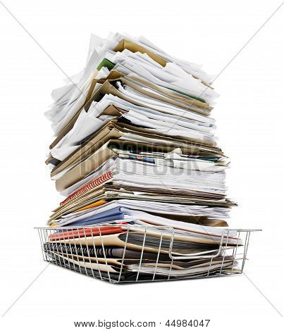 Pile Of Files In Tray