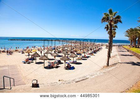 TENERIFE, SPAIN-SEPTEMBER 17:Beach Playa de la Vistas  on September 17, 2011Tenerife,Spain. More than 5 million tourists from UK visit Tenerife every year.