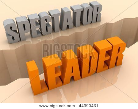 Two words SPECTATOR and LEADER split on sides separation crack.