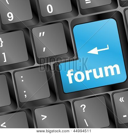 Computer Keyboard With Forum Key - Vector Business Concept