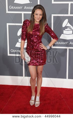 LOS ANGELES - FEB 10:  Lauren Mayhew arrives to the Grammy Awards 2013  on February 10, 2013 in Los Angeles, CA.
