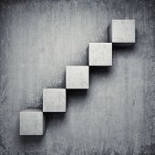 Abstract concrete staircase made of cubes poster