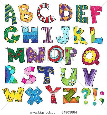 ABC. Kids funny alphabet, vector illustration. Drawing poster