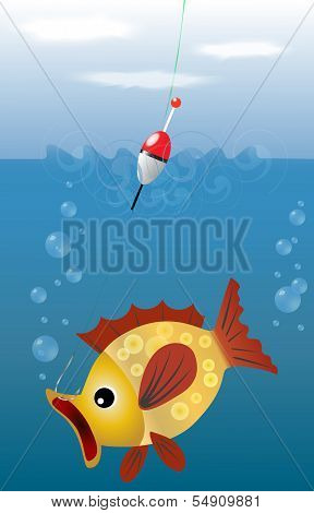 EPS10 vector illustration fishing. sky, water, and fish, which fell on the hook size. Fishing.