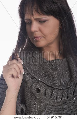 Woman Needed Professional Hair Treatment. Isolated. Vertical Image