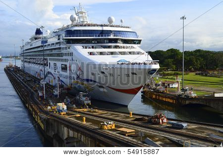 Westbound Cruise Ship Entering the Panama Canal