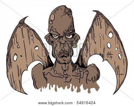 cartoon illustration of evil demon with wings poster