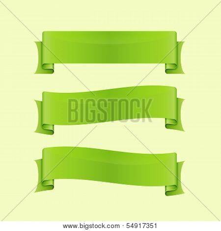 Set Of Green Sleek Web Ribbon