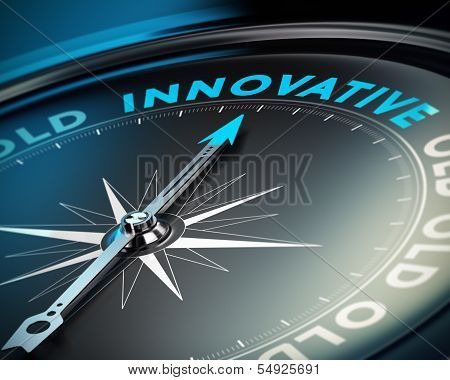 Compass needle pointing the word innovative concept of innovate and business solutions black background. poster