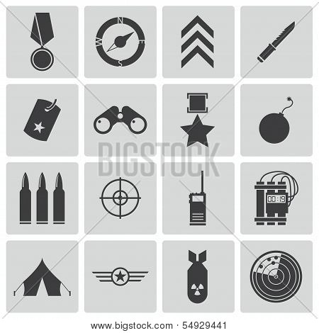 Vector black  military icons set