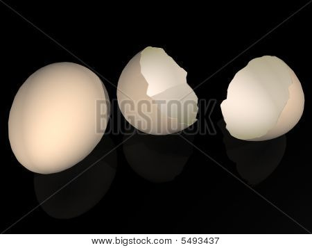 Two eggs over black background. 3D render. poster