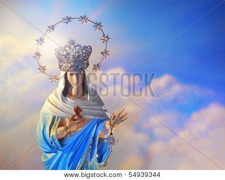 Beautiful depiction of the Virgin Mary with crown of stars in the heavens