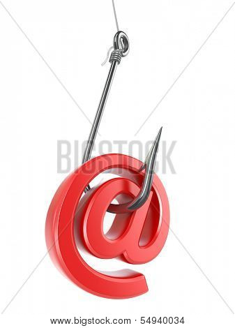 Phishing e-mail. Hook and sign on white isolated background. 3d