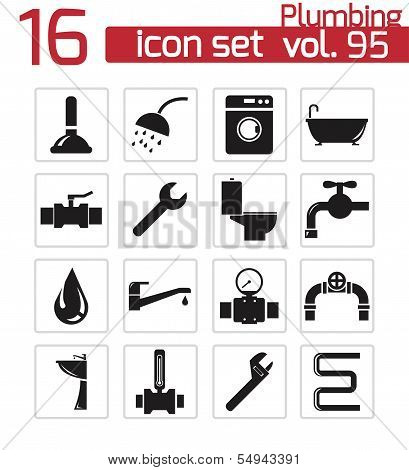Vector black  plumbing  icons set on white background poster