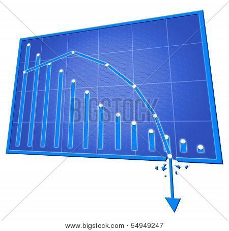 Blue Bad Graph Isolated On Withe Background