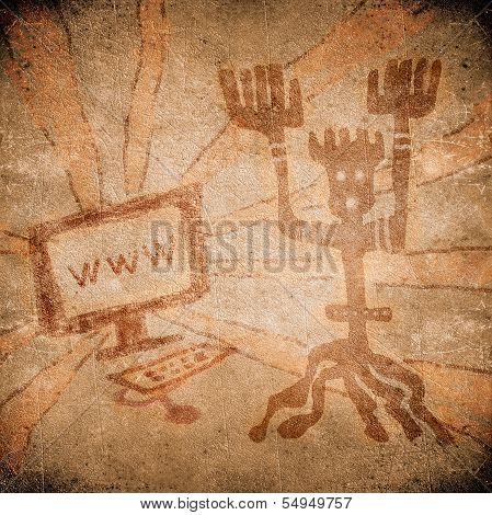 Prehistoric Painting With Computer On Line